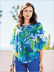 Corsica Tropical Overlay Top by Alfred Dunner