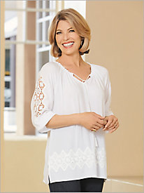 ¾ Sleeve Crepe Top With Lace