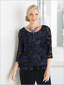 Floral Velvet Burnout Blouse by Alex Evenings
