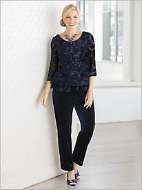 Floral Velvet Burnout Blouse by Alex Evenings & Velvet Separates