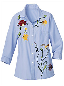 Embroidered Stripe Shirt by Foxcroft