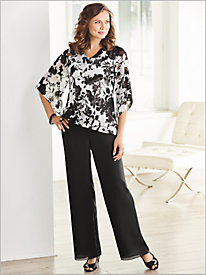 Floral Cowl Neck Top by Alex Evenings & Georgette Pants