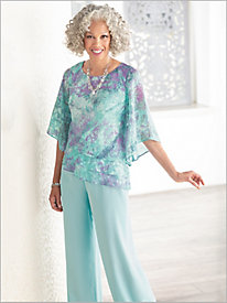 Watercolor Tripe Tier Top & Chiffon Pants by Alex Evenings