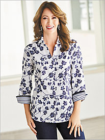 Floral Print ¾ Sleeve Shirt by Foxcroft