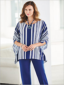 Stripe Poncho Top & Slimtacular® Ponte Knit Pants