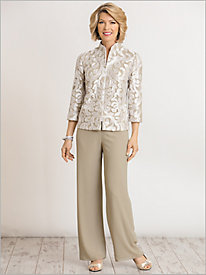 Zip Front Jacket & Chiffon Pull-On Pants by Alex Evenings