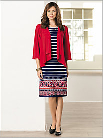 Paisley Border Striped Jacket Dress