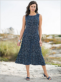 Abstract Dot Ruched Waist Dress
