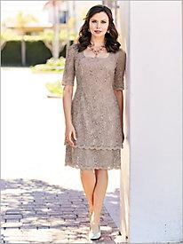 Double Tier Lace Dress by Alex Evenings