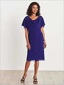 Drapeneck Caplet Dress