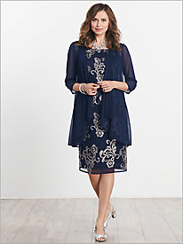 Embroidered Tulle Jacket Dress