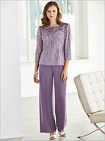 Shimmering Sequin Blouse & Chiffon Pants by Alex Evenings
