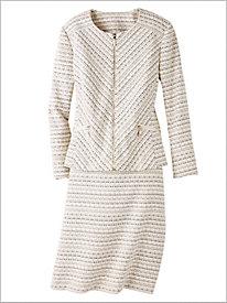 Zip Front Tweed Suit