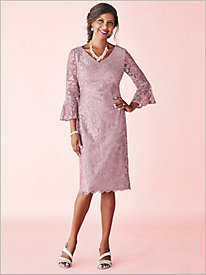 Bell Sleeve Embroidered Dress by Alex Evenings