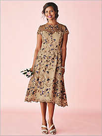 Fancy Floral Embroidered Dress by Alex Evenings