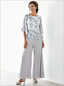 Fancy Floral Tiered Top & Chiffon Full Leg Pants by Alex Evenings