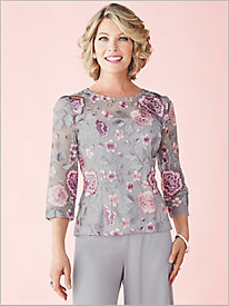 Rose Embroidered Top by Alex Evenings