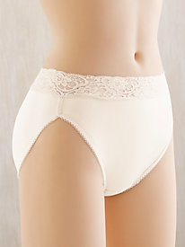 Silk Mid Rise High-Cut Brief with Lace Waistband