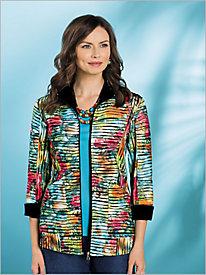 Jungle Floral Textured Knit Jacket