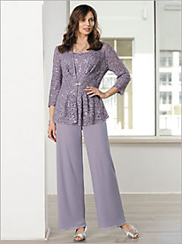 Lace Peplum Twin Set & Chiffon Pants by Alex Evenings