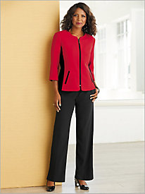 Colorblock Textured Stretch Crepe Jacket Separates