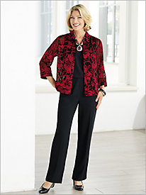 Poinsettia Burnout Jacket & Textured Stretch Crepe Separates