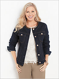 Faux Leather Trimmed Jean Jacket