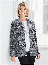 Marled Fringe Sweater Jacket