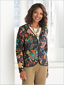 Floral Printed Knit Suede Jacket