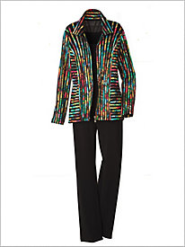 Printed Stripe Mesh Jacket & Crepe Separates