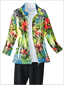 Green With Envy Print Jacket by D&D Lifestyle?