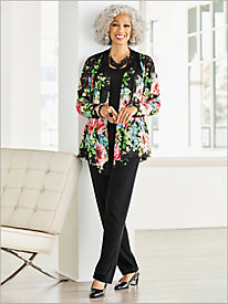 Floral Border Lace Jacket & Signature Knits® Separates