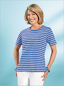 Essential Stripe Jewel Neck Tee