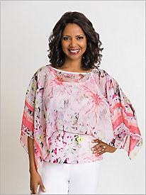 Blossoming Bliss Print Poncho