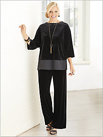 Velvet & Georgette Top & Stretch Velvet Pants