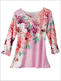 Asymmetrical Floral Tee by Alfred Dunner
