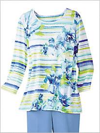 Watercolor Stripe Floral Tee by Alfred Dunner