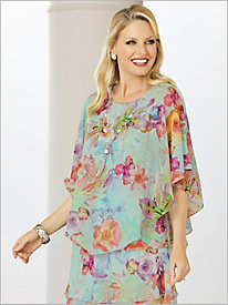 Roman Holiday Botanical Overlay Top by Alfred Dunner