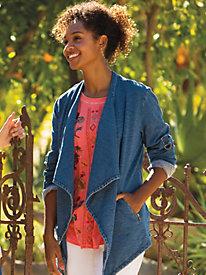 Women's Knit Denim Waterfall Jacket