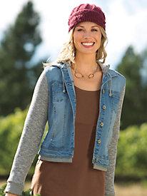 Women's Jean Vest Meets Hoodie