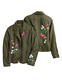 Embroidered Olive Blazer...