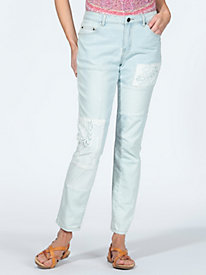 Women's Lace Patchwork Slim Crop Jeans