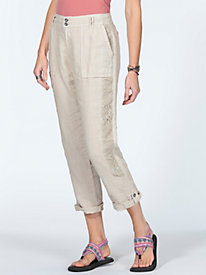 Women's Lace-Trimmed Linen Crop Pants