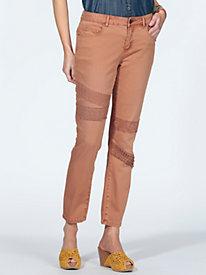 Women's Lace Trim Slim Ankle Jeans