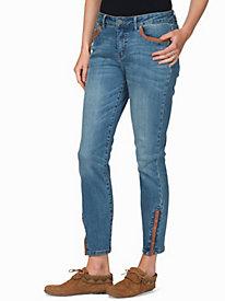 Women's Vegan Leather Skinny Ankle Jeans