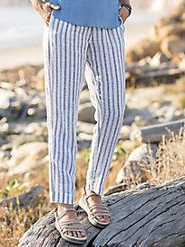 Linen Stripe Ankle Pants...