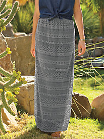 Women's Maxi Venice Lace Pull-On Skirt