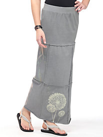 Women's Clay-Dyed Block Print Maxi Skirt