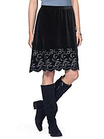 Stretch Velvet Embroidered Skirt