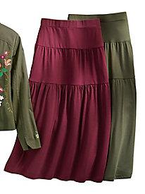 Knit Tiered Midi Skirt